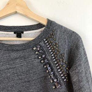 J. Crew Grey Embellished Sweatshirt